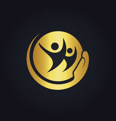 people care happy gold logo vector image