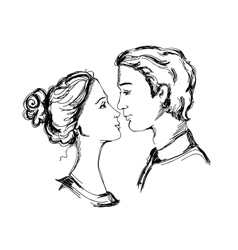 Sketch of loving couple vector image