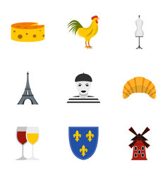 travel to france icons set flat style vector image