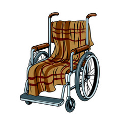 wheelchair with plaid pop art vector image