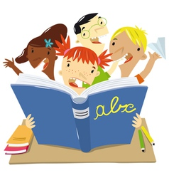 children who read at school vector image