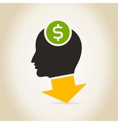 Head an arrow dollar vector image vector image
