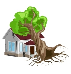 House destroyed Tree fell on house Cracks in vector image vector image