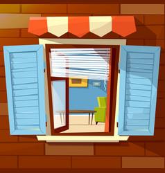 house window facade cartoon of vector image