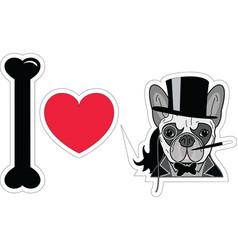 I love french bulldog old fashion gentleman style vector image vector image