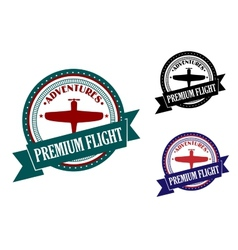 Premium flight adventures symbol vector image vector image
