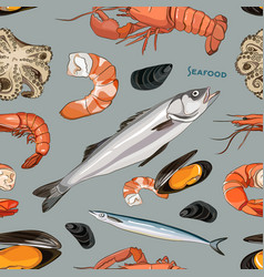 seafood set pattern vector image