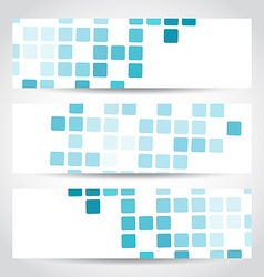 Set blue mosaic tile cards vector image vector image