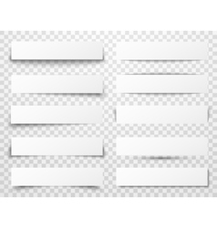 Set of white horizontal paper banners with vector image