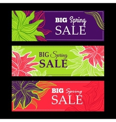 Spring sale banners with nature lace flowers vector image