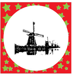 black 8-bit mill complex at kinderdijk vector image vector image