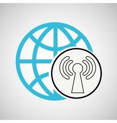 connection concetp globe symbol wifi vector image