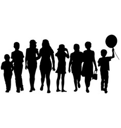 set of kid silhouettes vector image vector image