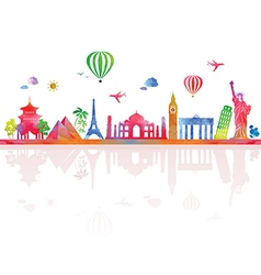Travel and tourism banner with architecture vector image