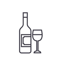 wine and glass line icon sign vector image