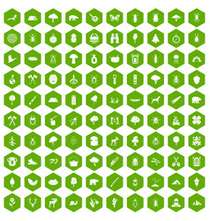 100 forest icons hexagon green vector image