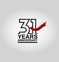 31 years anniversary logotype with black outline vector