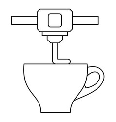 3d printer printing cup icon outline style vector
