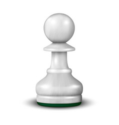 3d realistic white wooden pawn icon closeup vector