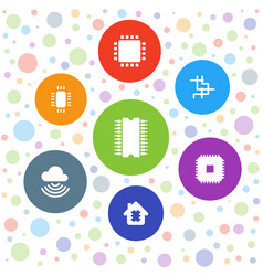 7 circuit icons vector image