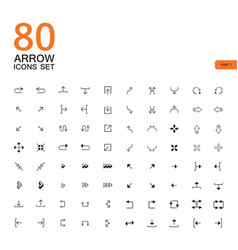 80 arrow sign icons buttons set vector image