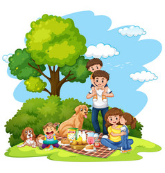 a family picnic at park vector image