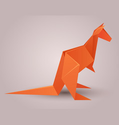 a paper origami kangaroo paper zoo elem vector image