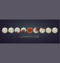 all phases of a total lunar eclipse vector image