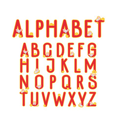 alphabet with funny mice looking for cheese vector image