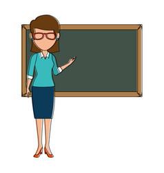 Beautiful teacher female with chalkboard avatar vector