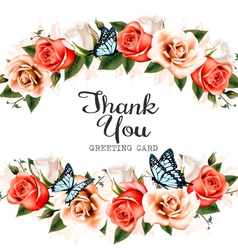beautiful thank you greeting card with roses vector image