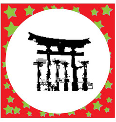 black 8-bit miyajima hiroshima japan at the vector image