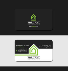 Black business card template villa green color vector