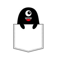 Black monster silhouette in the pocket holding vector