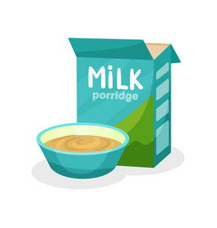 box of porridge and full ceramic bowl healthy and vector image