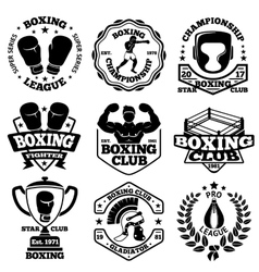 Boxing labels set with - boxer helmet vector image