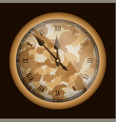 Camouflage style realistic clock isolated on vector