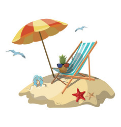 Cartoon island in the sea with a chaise longue and vector