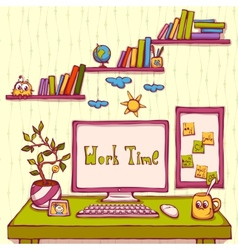 cartoon of workplace in office vector image
