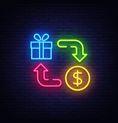 cash back neon icon cash back neon sign vector image