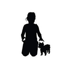 child with small dog silhouette vector image