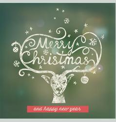 christmas handwritten typography vector image