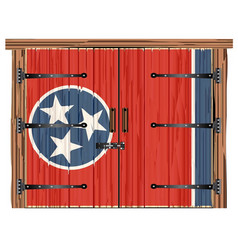 Closed barn door with tennessee state flag vector