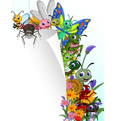 Collection of insects with blank sign in the flowe vector