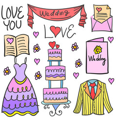 collection stock of wedding element party vector image