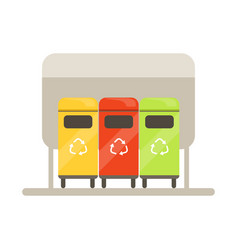 Colorful trash recycling containers rubbish bins vector