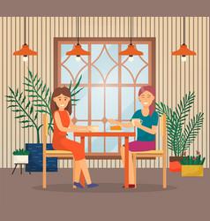 Conversation two women in cafe friends talk vector