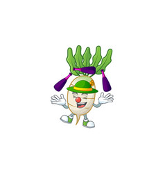 Cute and cool juggling daikon cartoon character vector