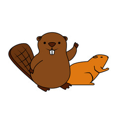 Cute beaver and otter mascots vector