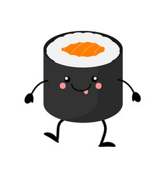 Cute cartoon sushi character kawai sushi vector